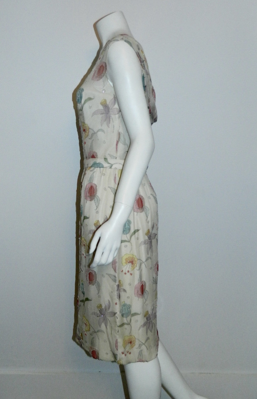 vintage 1950s silk chiffon beaded dress Jobere New York floral print wedding gown M