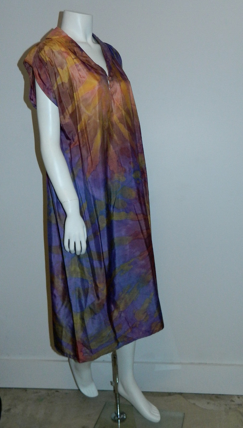 purple sunset SILK Hand Dyed poets dress / vintage 1970S Hippie / artist made OOAK