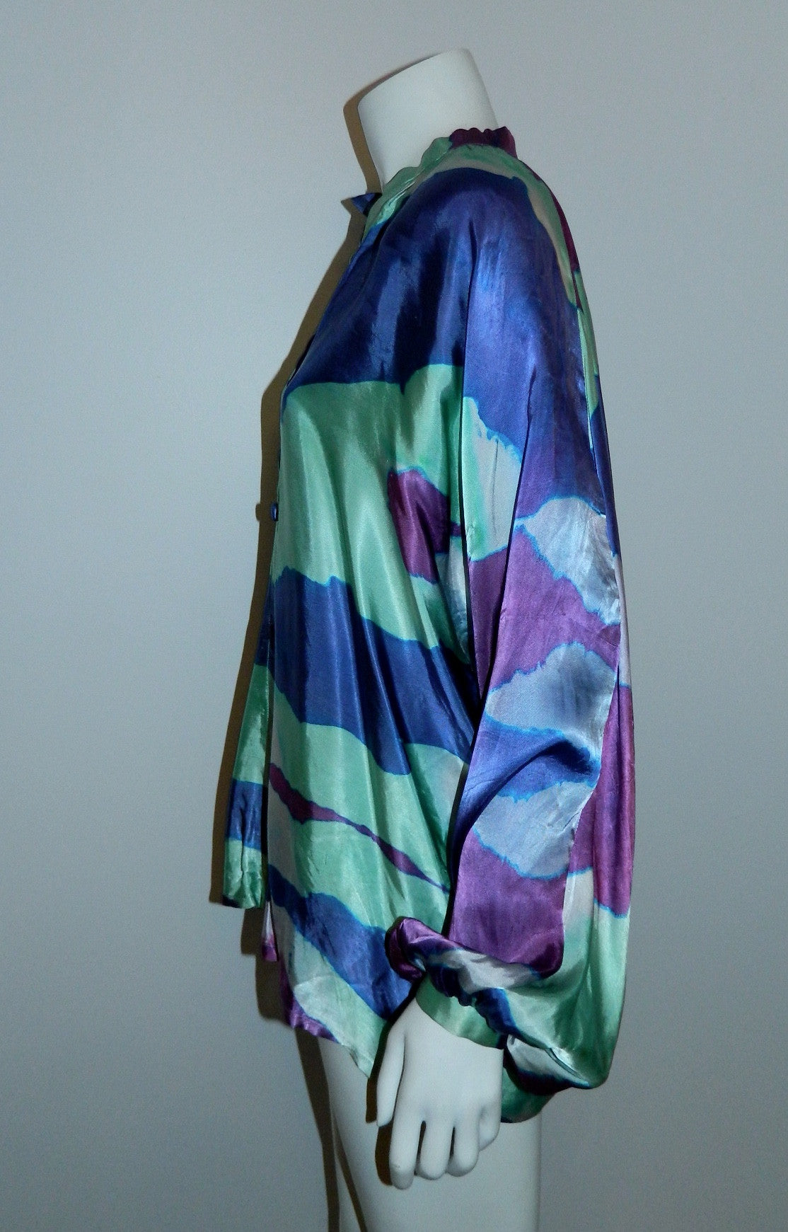 purple waves satin blouse / 1970s hand dyed vintage top / artist made OOAK