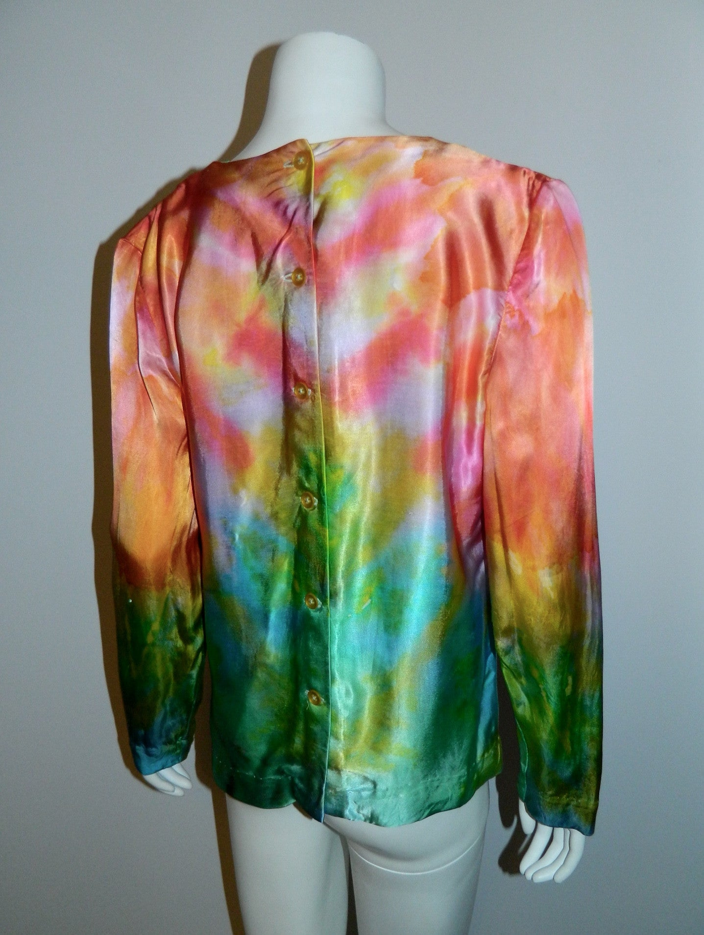 vintage 1970s satin rainbow blouse / hand dyed rayon / button back OOAK