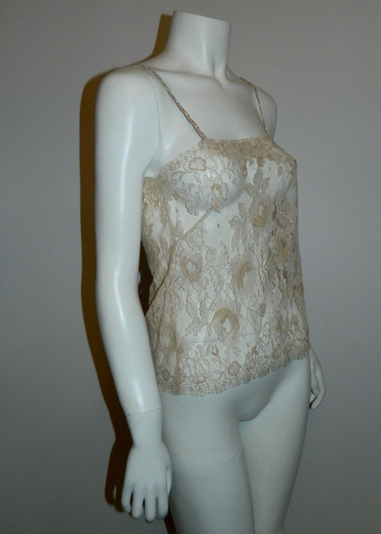 lace camisole AUBADE buff cream lacy tank top shell XS