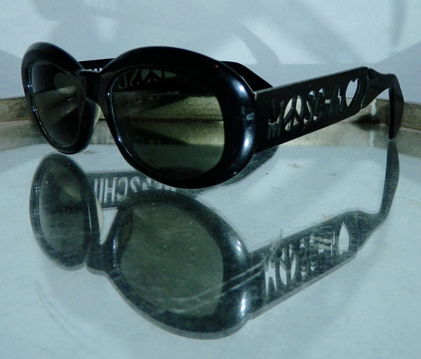 vintage 1990s MOSCHINO sunglasses cut out logo glasses frames black plastic
