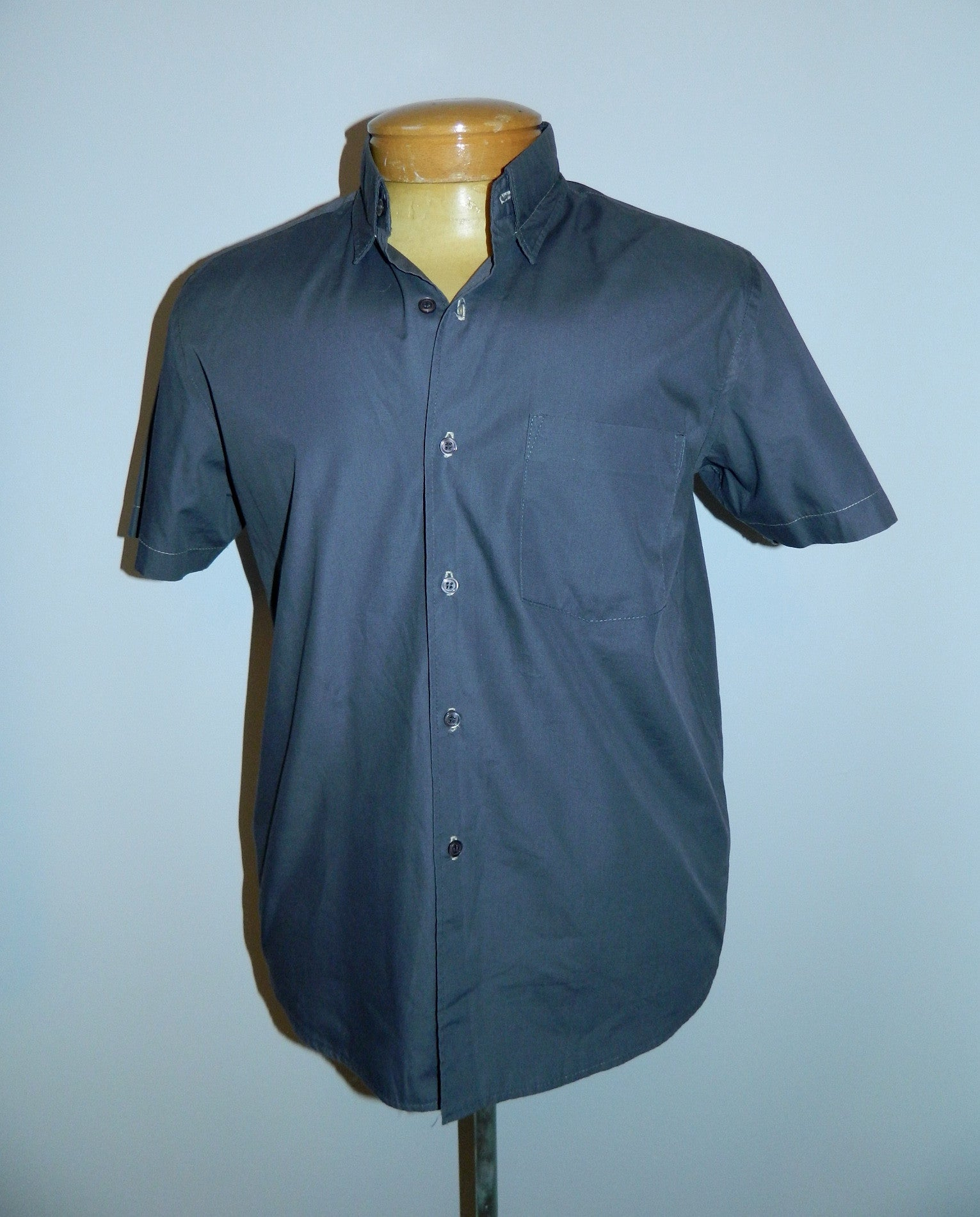 gray cotton poplin Helmut Lang oxford shirt / short sleeved / stitched collar Mens M / L