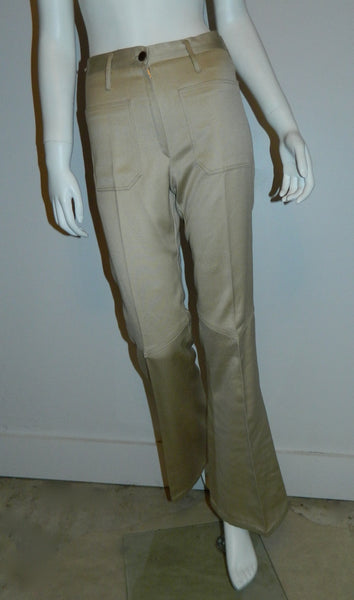 vintage 1970s beige sateen bell bottoms / sailor pants / flare leg jeans XS