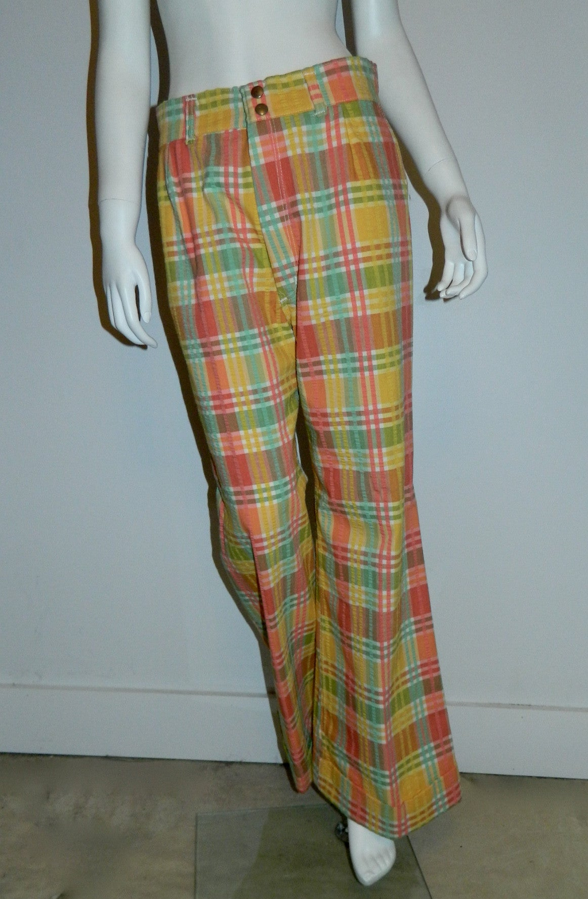 vintage plaid seersucker pants / 1970s pastel Wrangler jeans / wide leg cuffed trousers