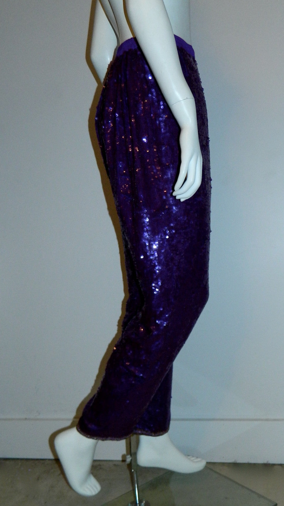 1980s sequin pants / PURPLE sequined trousers / vintage peg leg formal pants XS - S - M