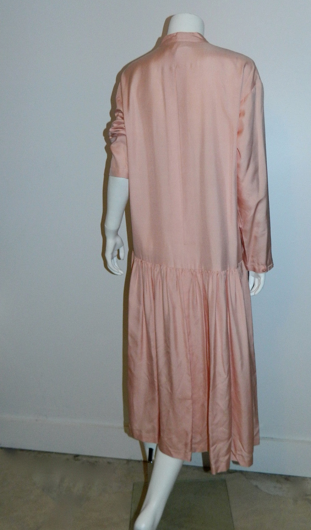 vintage silk dress / 1980s pink Arlequin PARIS drop waist shirtdress OS