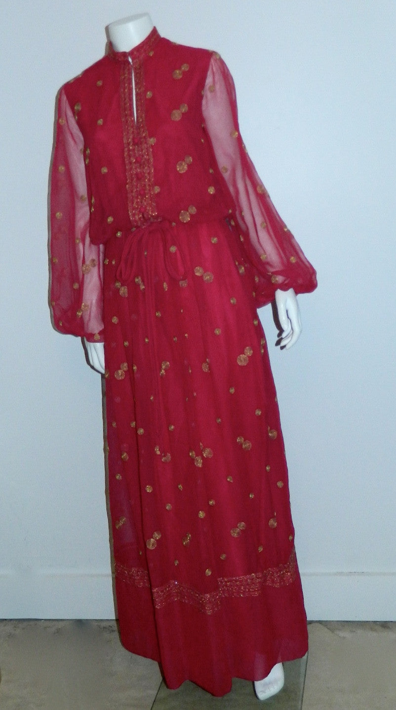 vintage 1970s Boho gown / magenta chiffon Jack Bryan maxi dress / gold embroidery XS - S