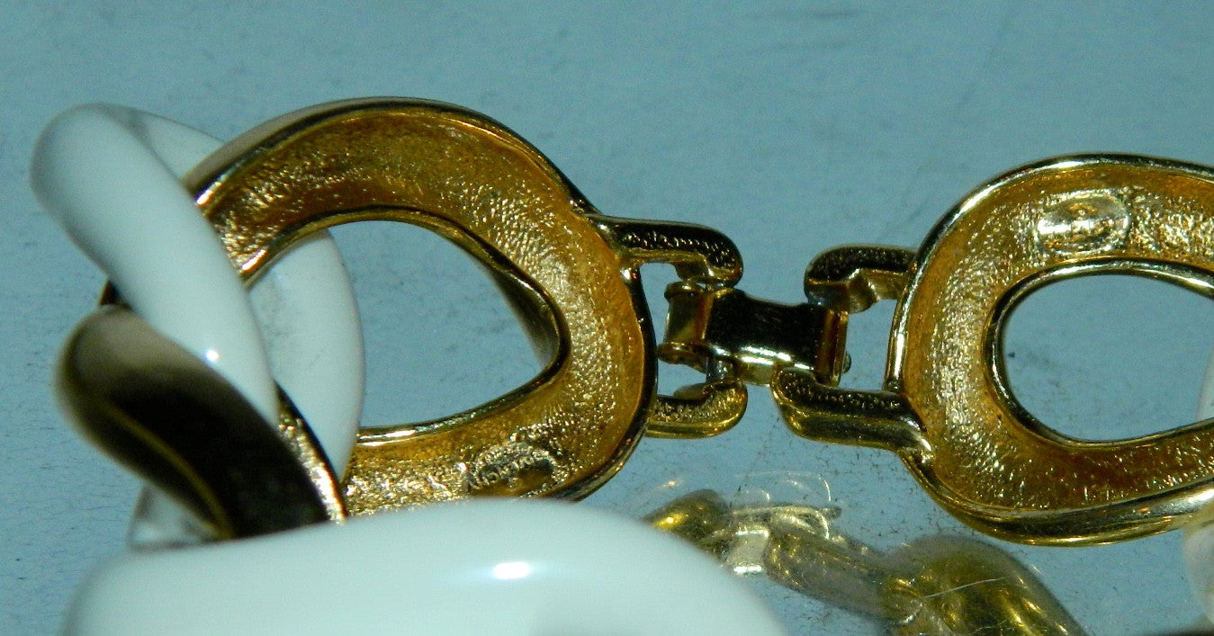 vintage GIVENCHY link bracelet / gold white statement designer jewelry