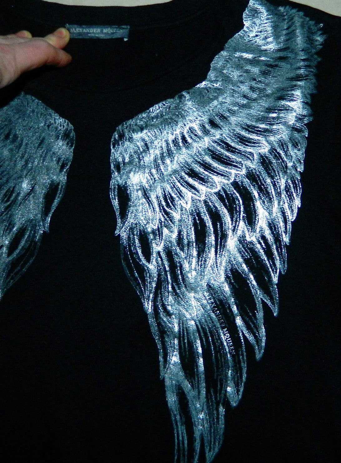 black Alexander McQueen angel wings tee shirt / silver metallic logo top 42/ US M