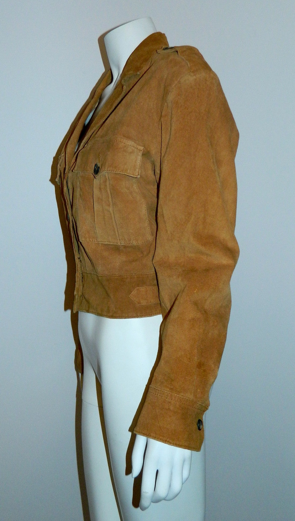 vintage 1980s rust suede jacket BANANA REPUBLIC Safari cropped leather blazer M - L