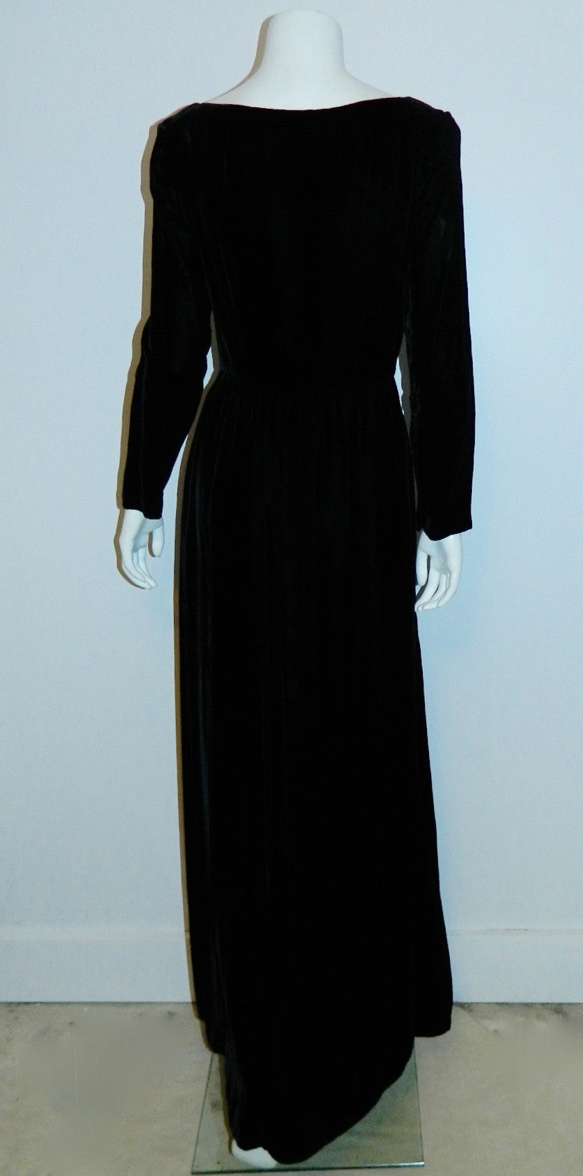 vintage 1960s black evening gown MOLLIE PARNIS dress / rayon velvet wrap front XS