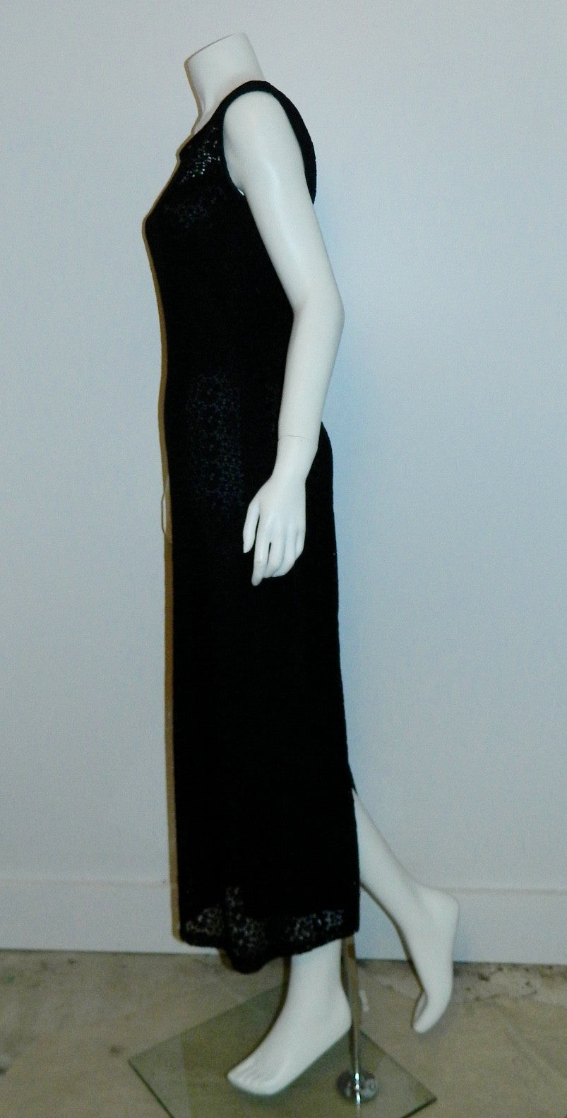 vintage 1960s column dress black lace Peek A Boo front gown XS