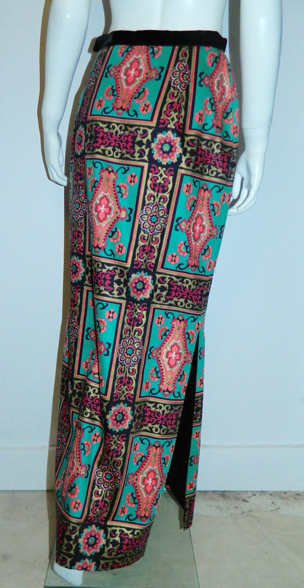 vintage Alex Coleman skirt / teal pink baroque frame print / wool side slit column skirt 1970s