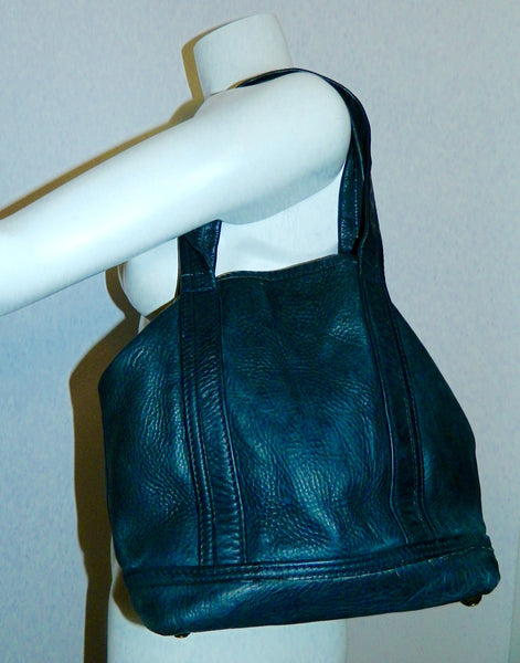 vintage blue saddle leather tote bag Lee Stemer for Ronay handbag purse 1970s