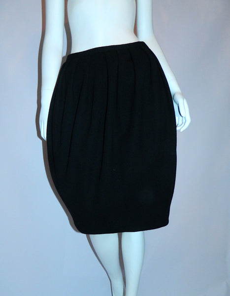 early DKNY Donna Karan New York black wool tulip skirt US 12