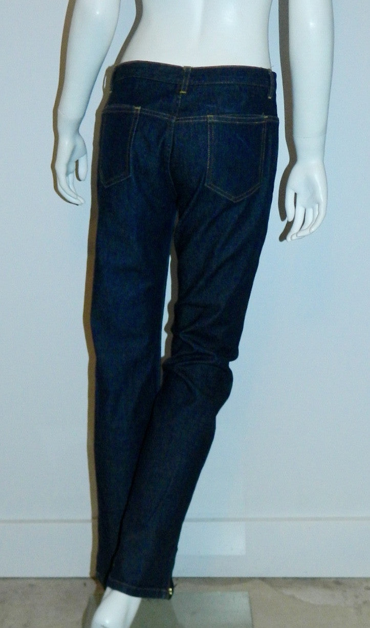 1990s vintage Daryl K-189 dark denim jeans / straight leg zip stretch trousers XS- S