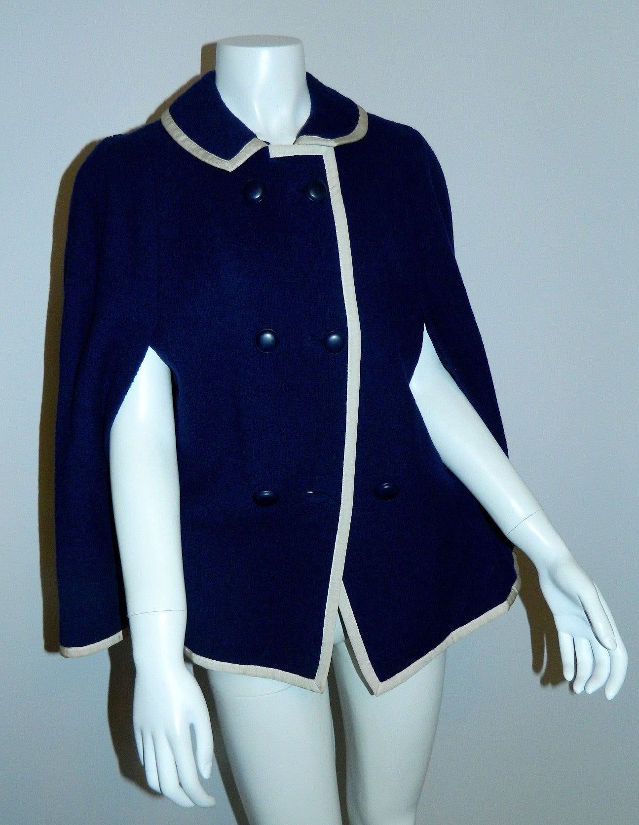 vintage 1960s blue wool cape / Handmacher navy boucle capelet jacket /white grosgrain trim