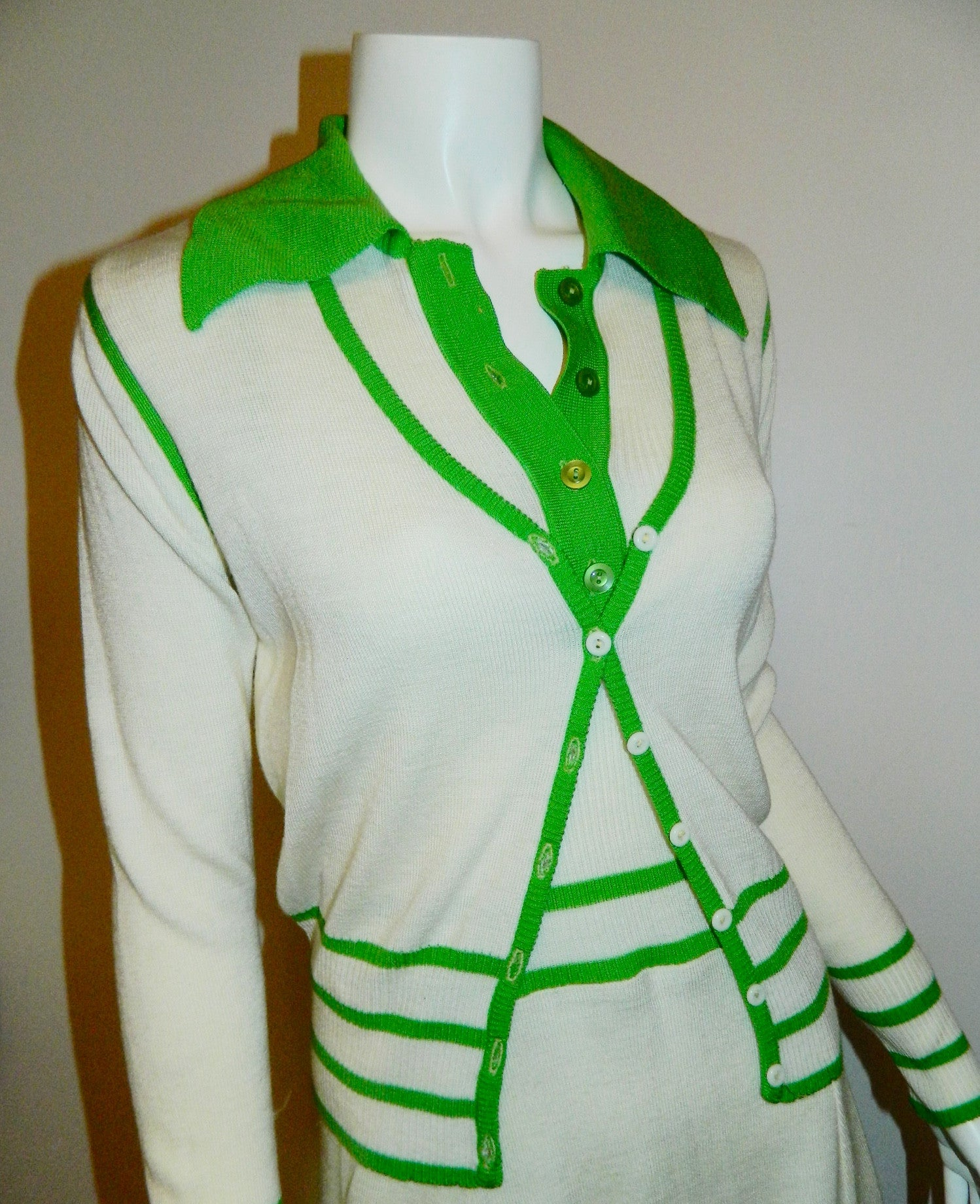 vintage 1970s tennis dress WHITE STAG knit mini dress cardigan sweater white kelly green XS