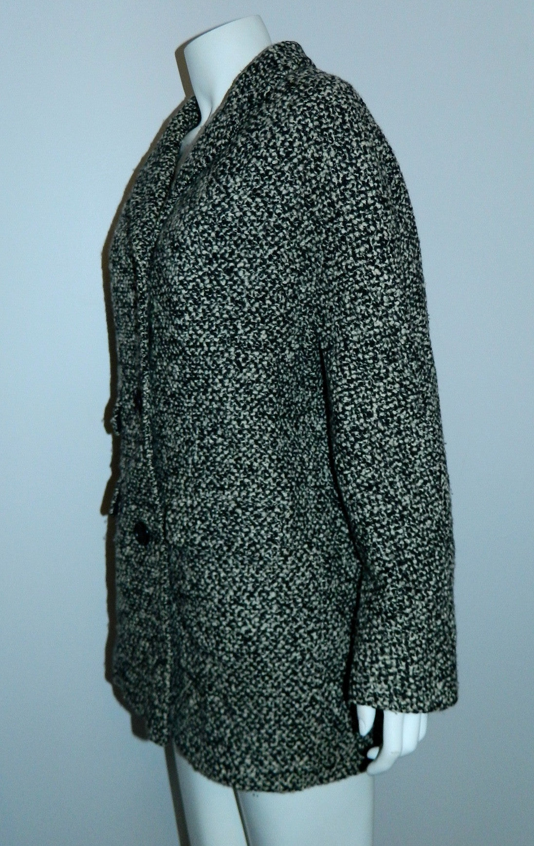 vintage tweed cocoon coat 1950s / 1960s Best & Co. black white boucle / oversized boxy car coat
