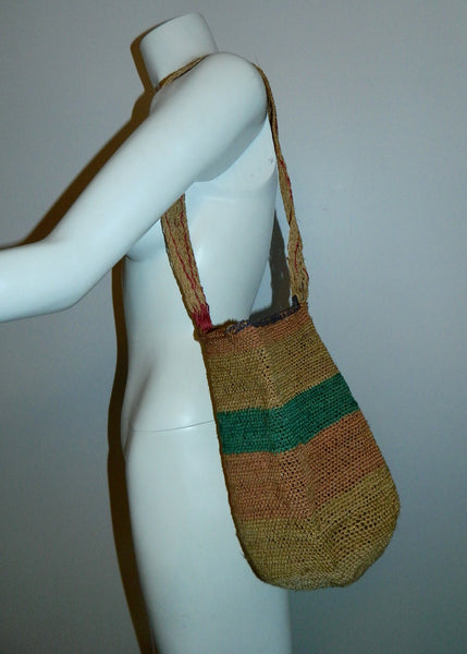 vintage 1940s striped seagrass tote / woven market basket bag