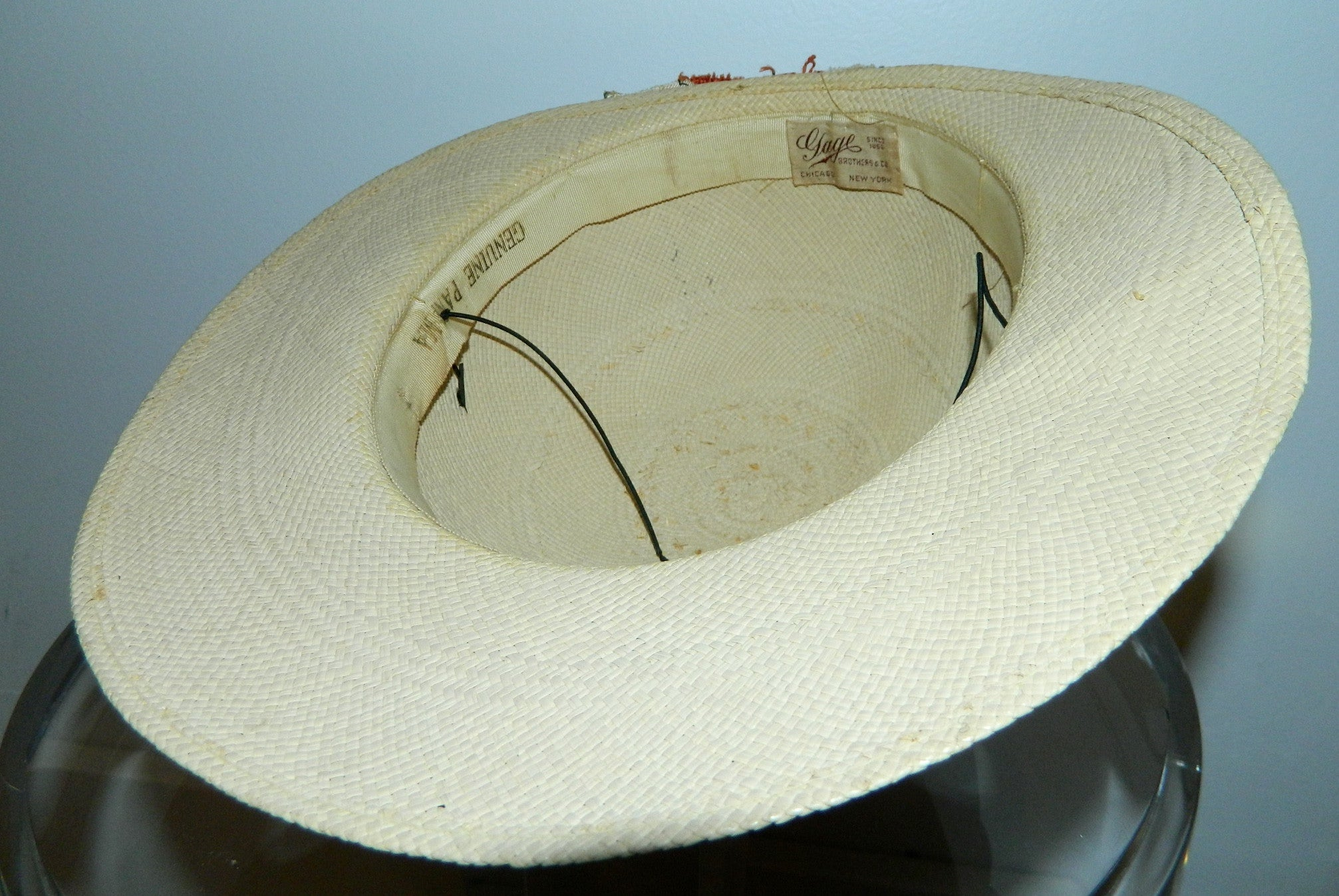 vintage 1940s ladies Panama hat Gage Brothers Chicago NY millinery