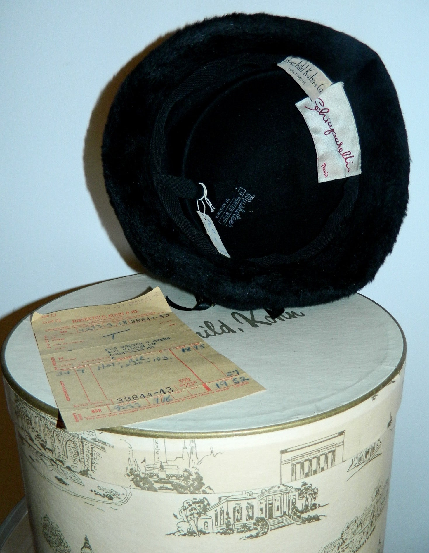 vintage SCHIAPARELLI hat / black wool 1950s pillbox fur halo hat in box receipt original tag