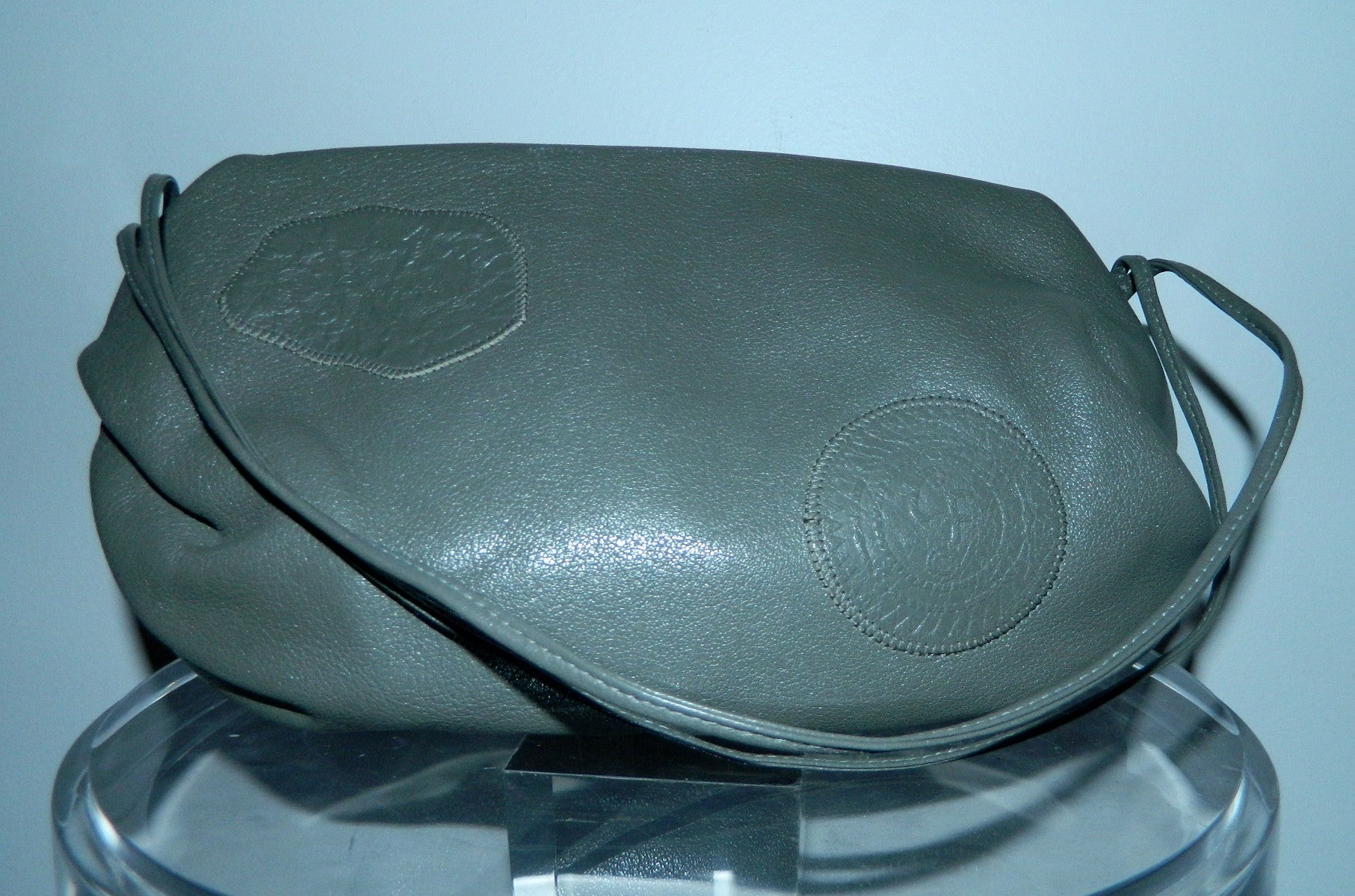 vintage 1970s leather purse gray Carlos Falchi barrel shoulder bag Buffalo leather