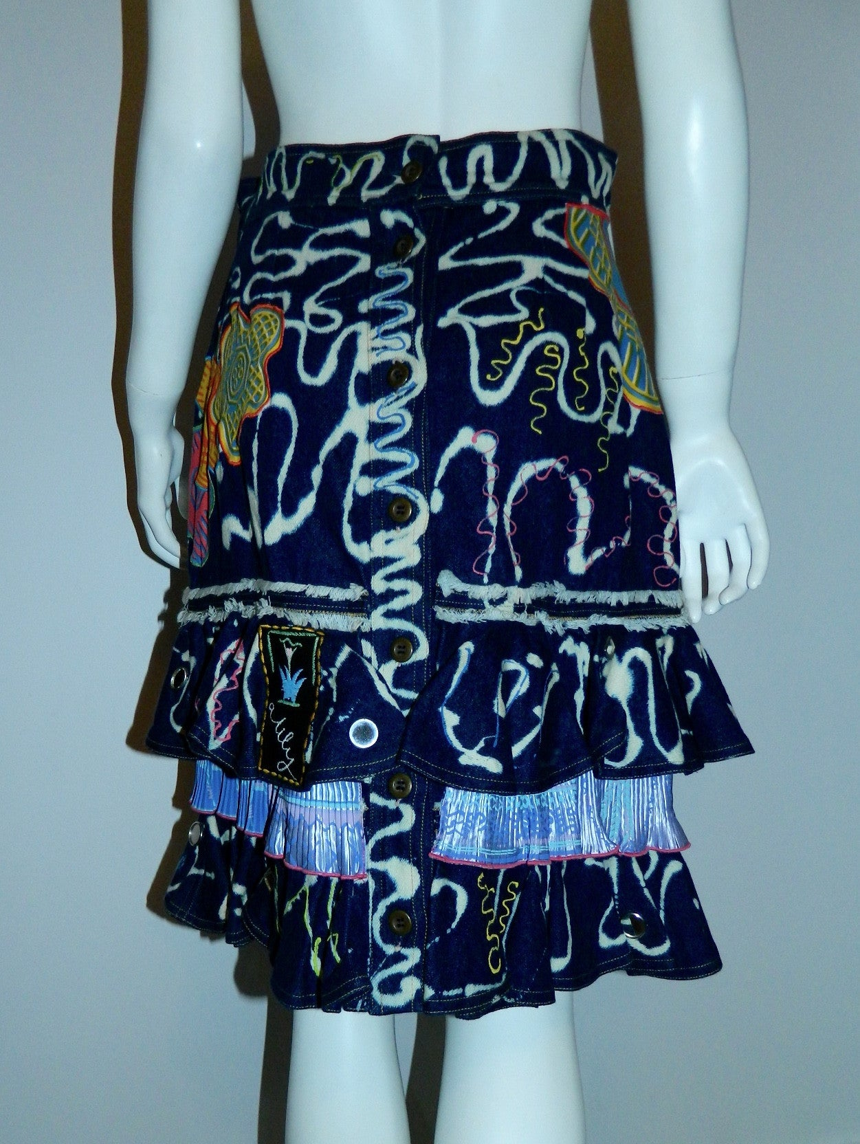 vintage Zandra Rhodes skirt 1980s bleached denim tiered hem appliqué US 10