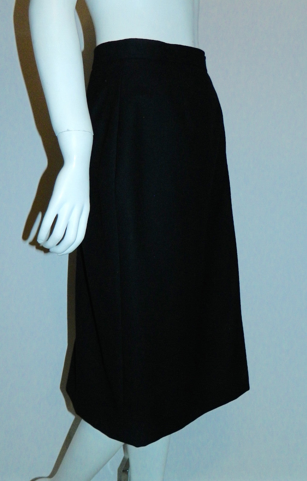 vintage 1970s skirt YSL black wool Yves Saint Laurent straight skirt XS S