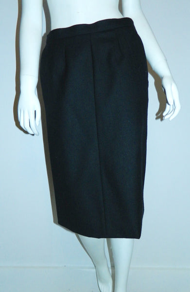 vintage 1980s skirt YSL black wool Yves Saint Laurent rive gauche skirt S M