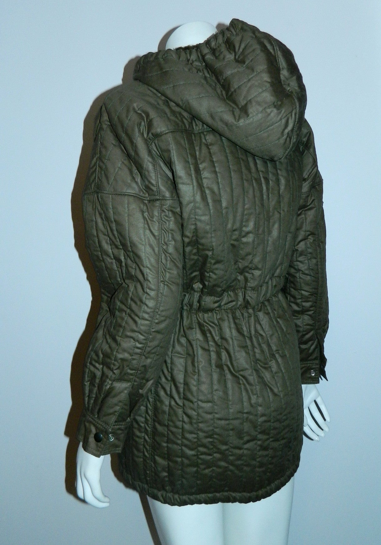 vintage 1970s quilted parka / olive Army coat Beged- Or Bis / coated cotton flannel lined XS