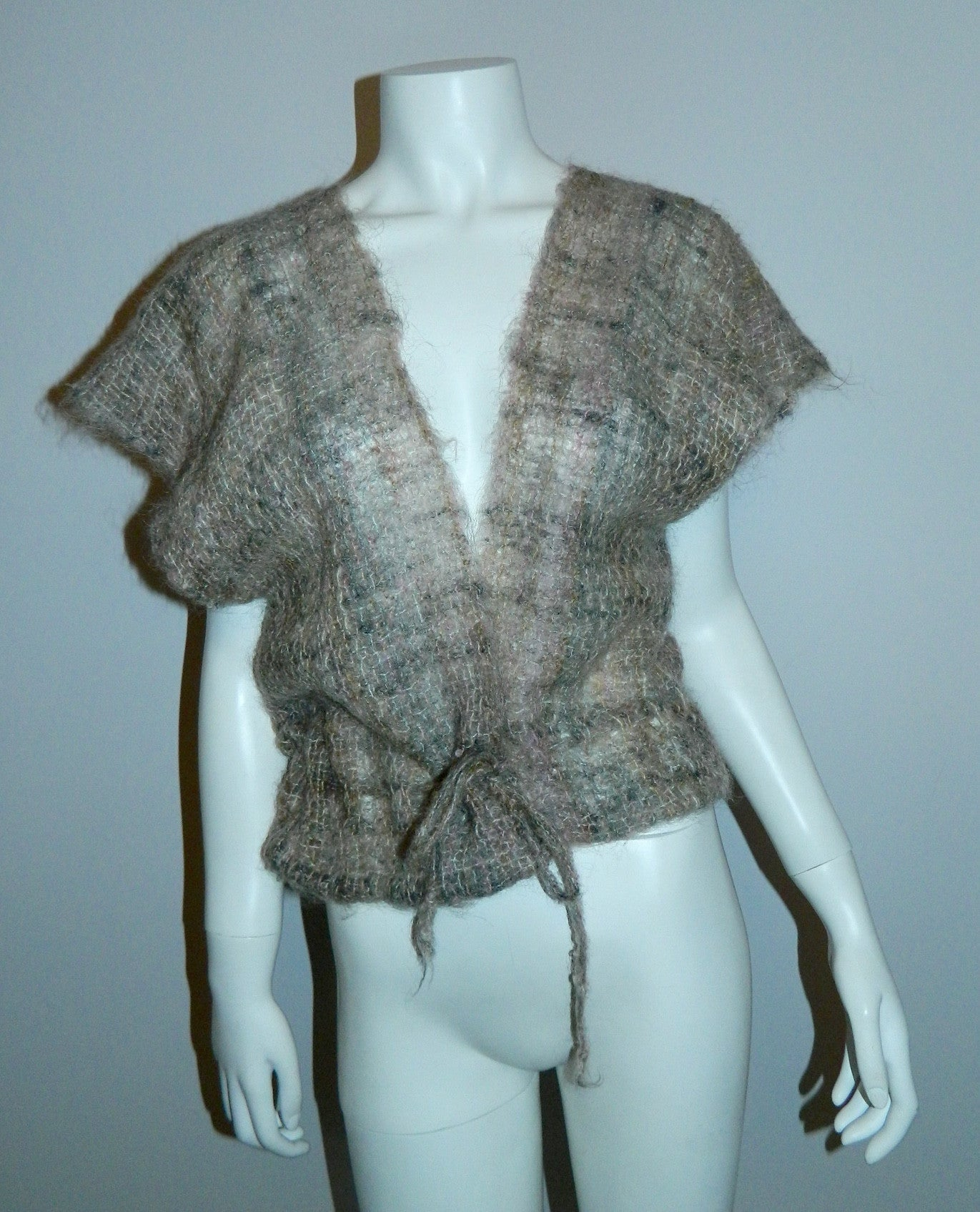 vintage 1970s woven MOHAIR sweater / cap sleeve cardigan vest / backless shawl top