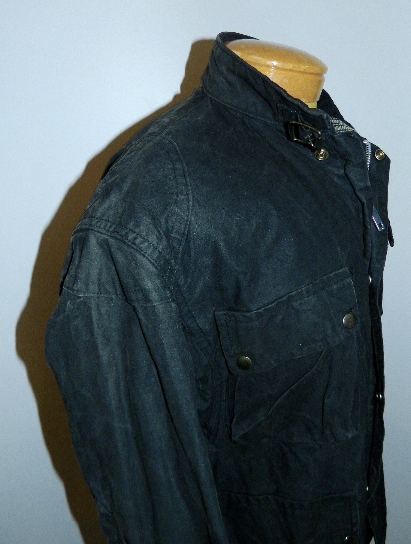 vintage waxed cotton field jacket black canvas EUROWEAR England oiled coat M
