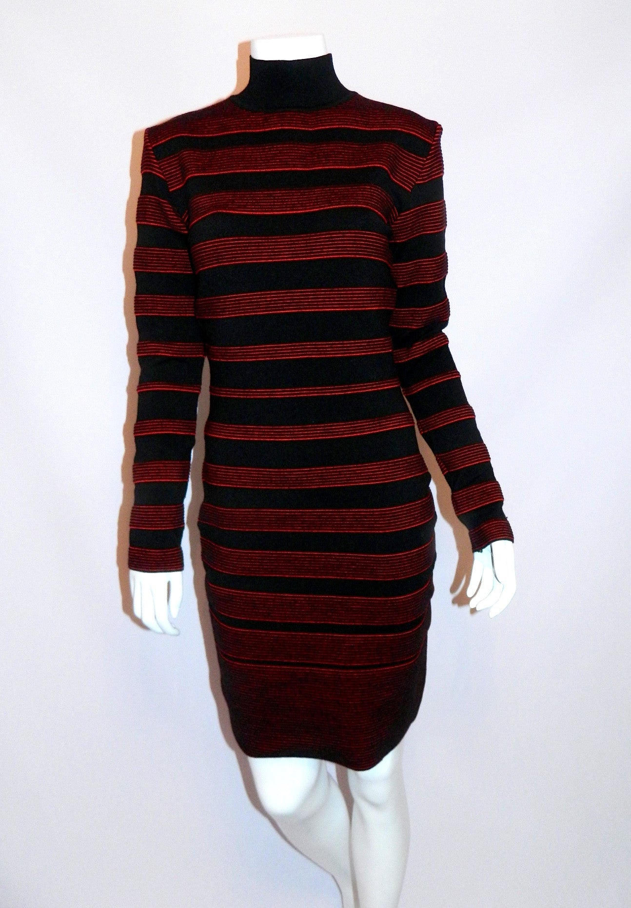 vintage 1980s dress Thierry Mugler by Alaia Bandage wool Body Con knit OSFM