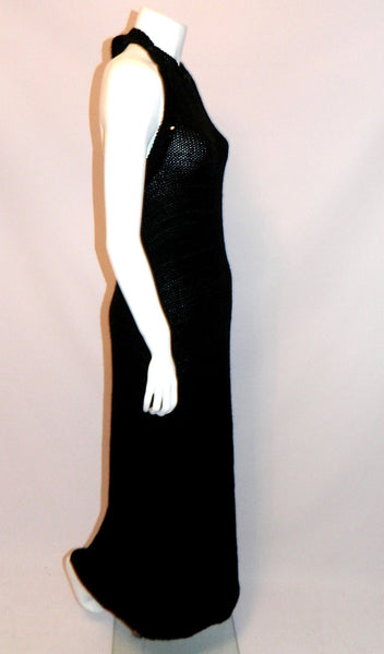 vintage COURREGES dress / 1960s MOD black crochet knit halter maxi gown XS