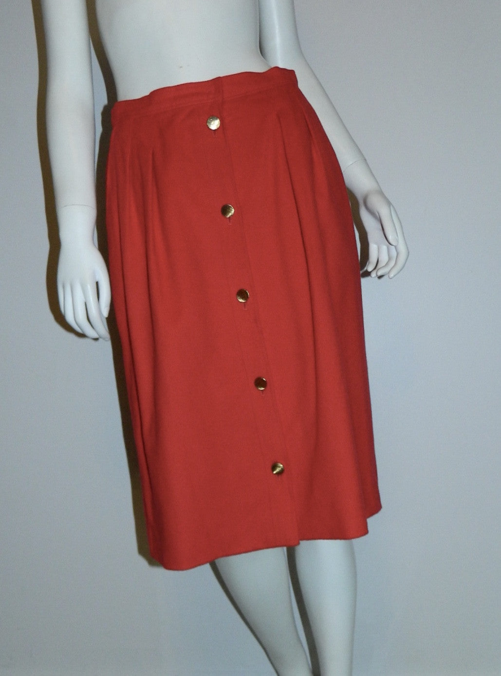 vintage 1980s skirt red cashmere Loro Piana button front midi skirt M