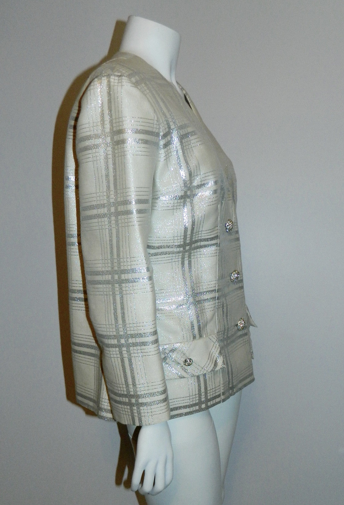 vintage 1960s plaid jumpsuit / silver BERNETTI New York formal gown suit