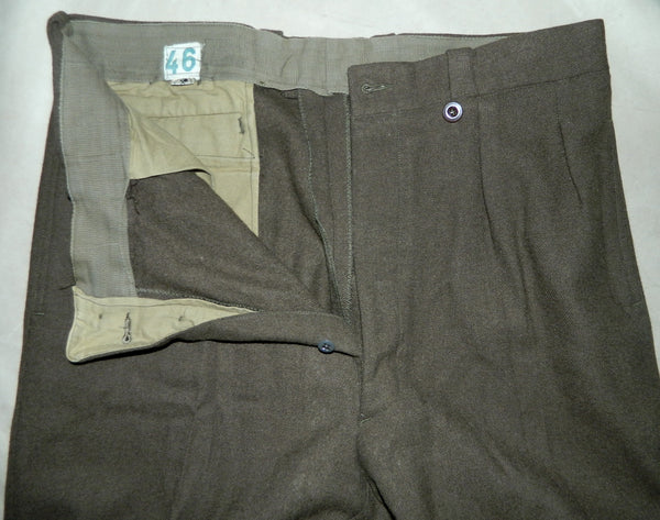 vintage 1940s French military pants WWII wool trousers OD pleated slacks heavy wool 37 inch waist