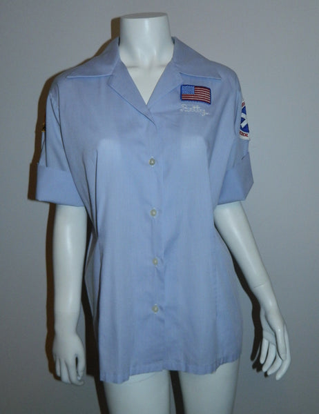 vintage 1960s EMT blouse Women's work shirt uniform Liberty Corner First Aid Squad NJ ELBECO