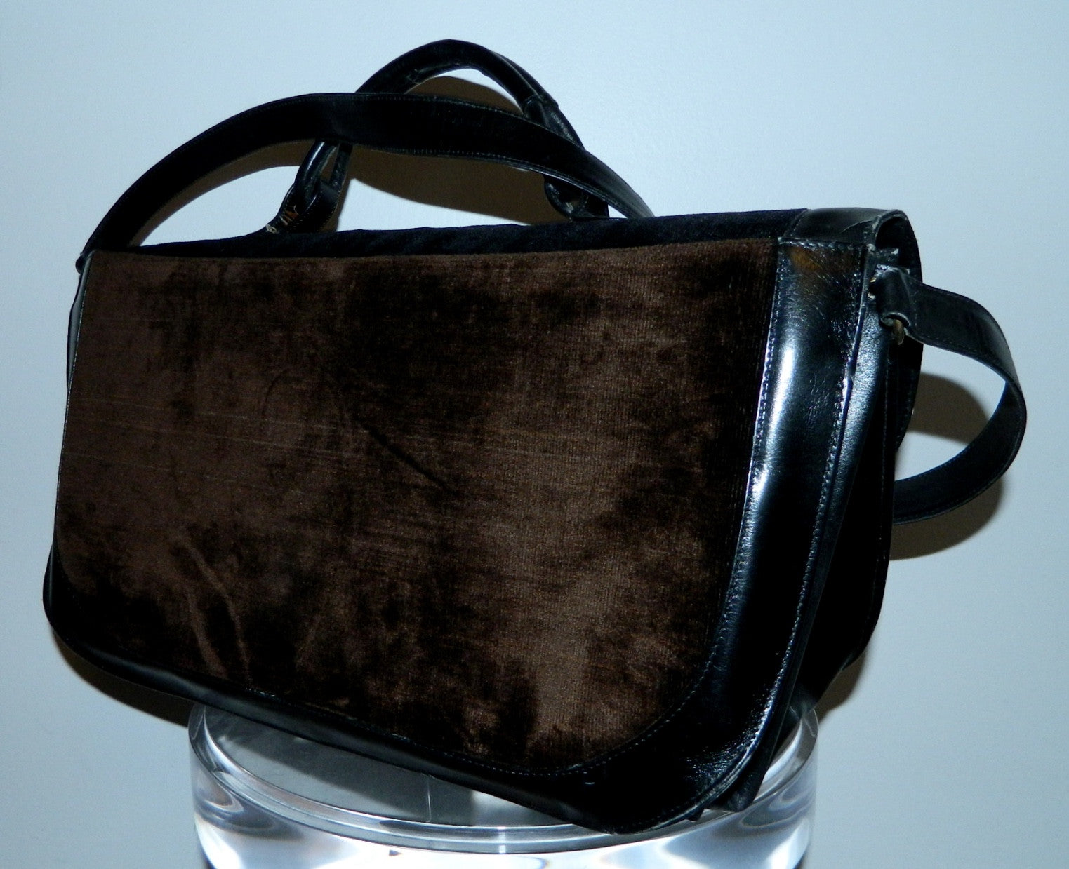 HUGE velvet leather Roberta di Camerino briefcase handbag vintage 1970s carry on bag