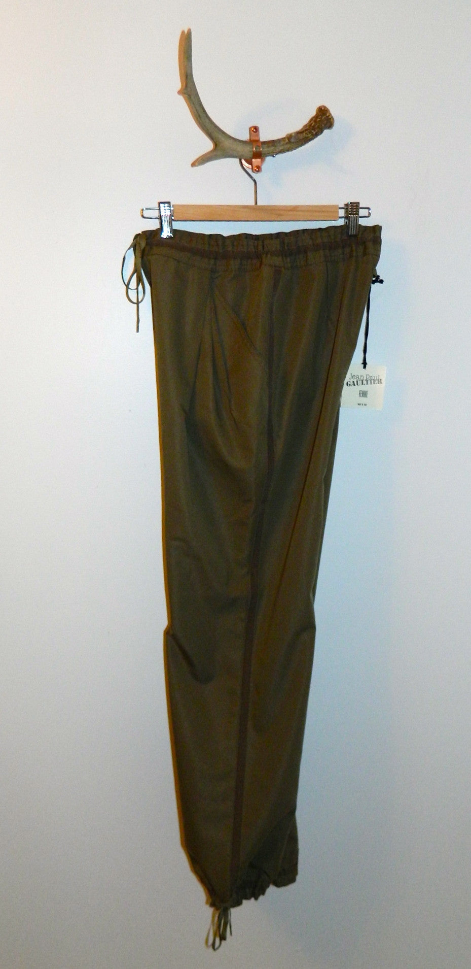 vintage 1990s Jean Paul GAULTIER pants / olive tuxedo trousers US 6