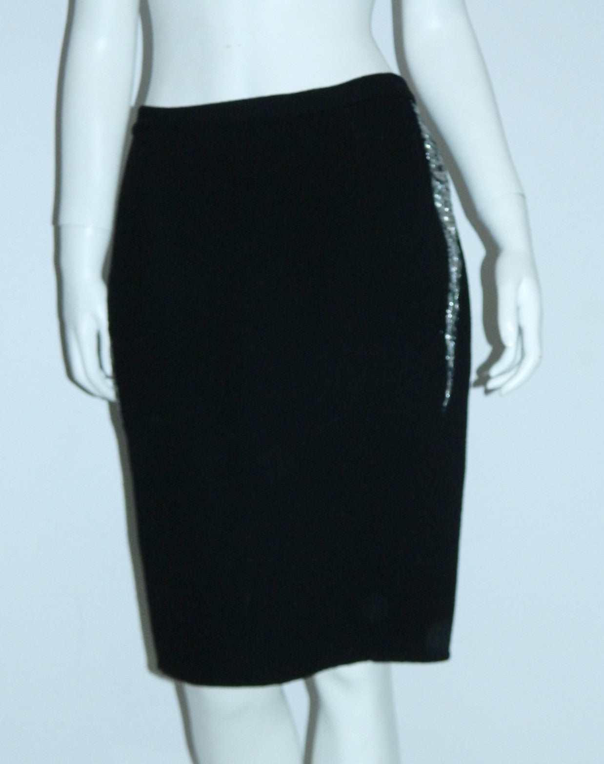 black wool Geoffrey Beene skirt silver lightning bolts / side seams 1980s vintage