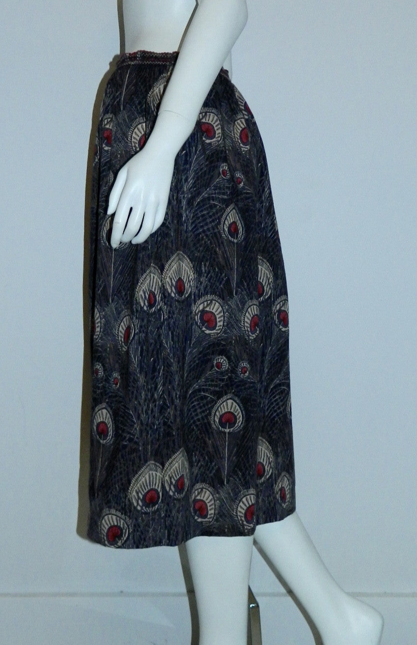 vintage Liberty wool skirt HERA peacock print midi skirt / mini dress OSFM