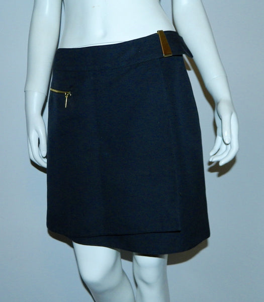 vintage 1980s blue Claude Montana mini skirt silk wrap skirt 44 / US 10