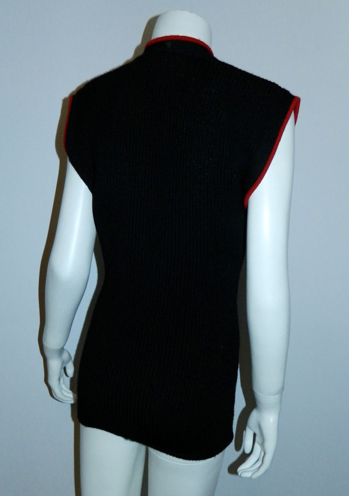 vintage KENZO sweater black wool ribbed knit top red trim 1980s designer