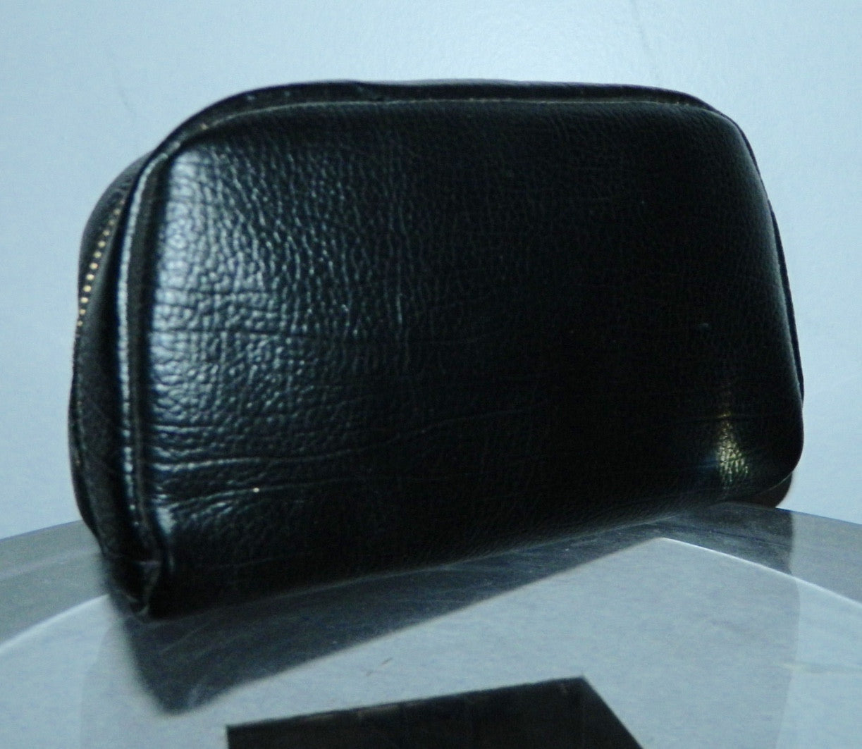 vintage black leather clutch bag PROPPER US Dopp kit pouch 1950s