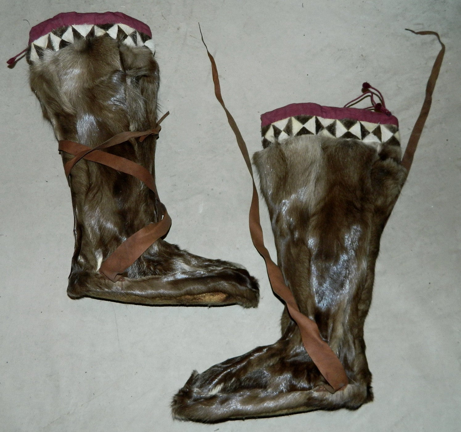 antique 1920s 1930s reindeer fur boots LOMEN leather soled Arctic boots vintage Nome Alaska