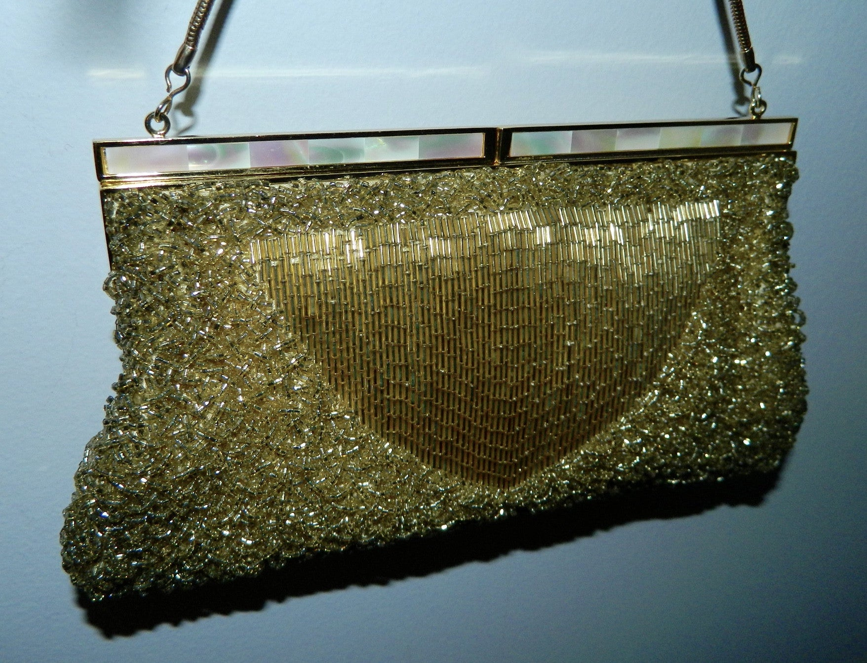 vintage 1950s gold evening bag Mr. John beaded purse Mother of Pearl clasp