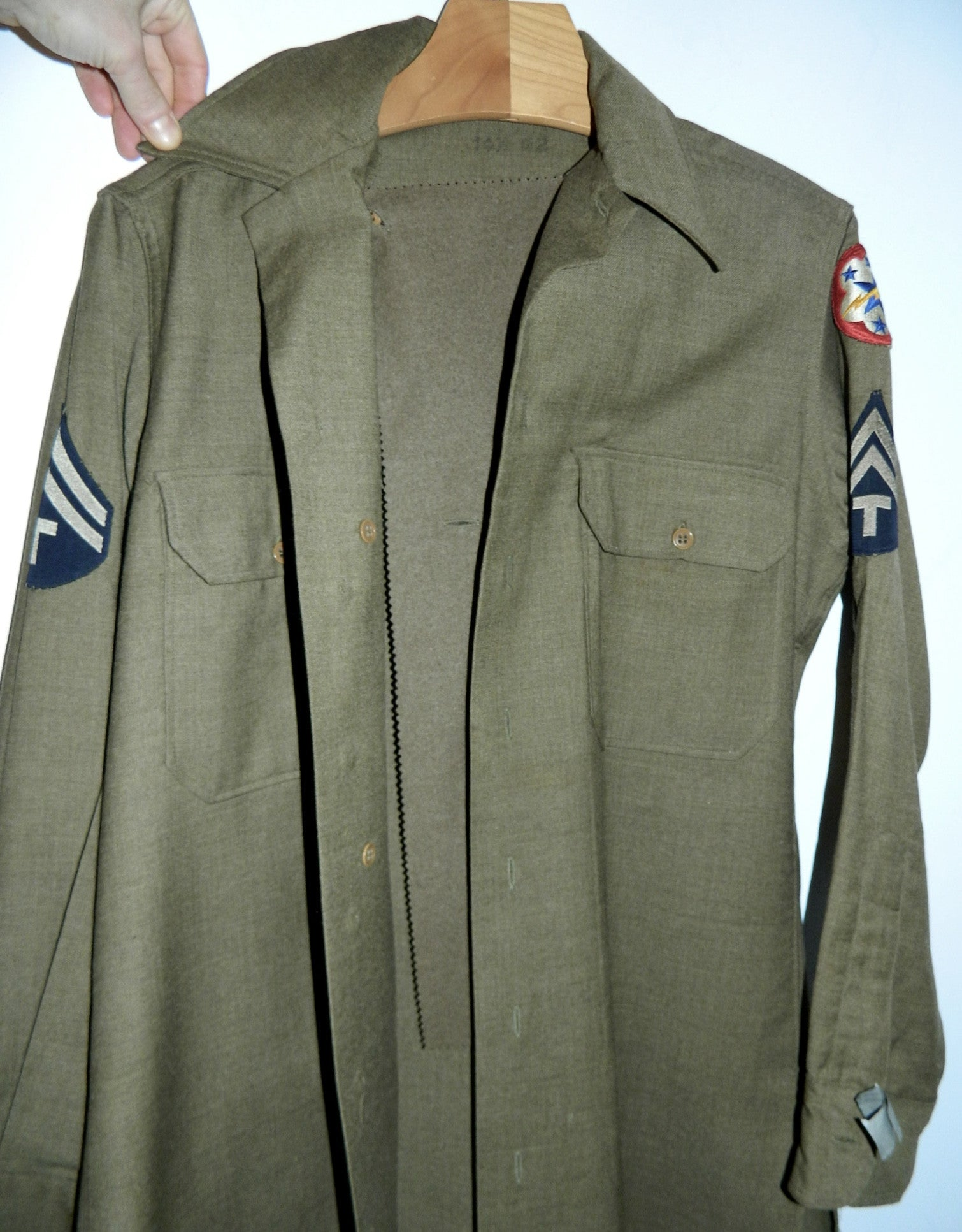 vintage 1940s US Army Coat Style OD flannel shirt T/5 Western Pacific Unit